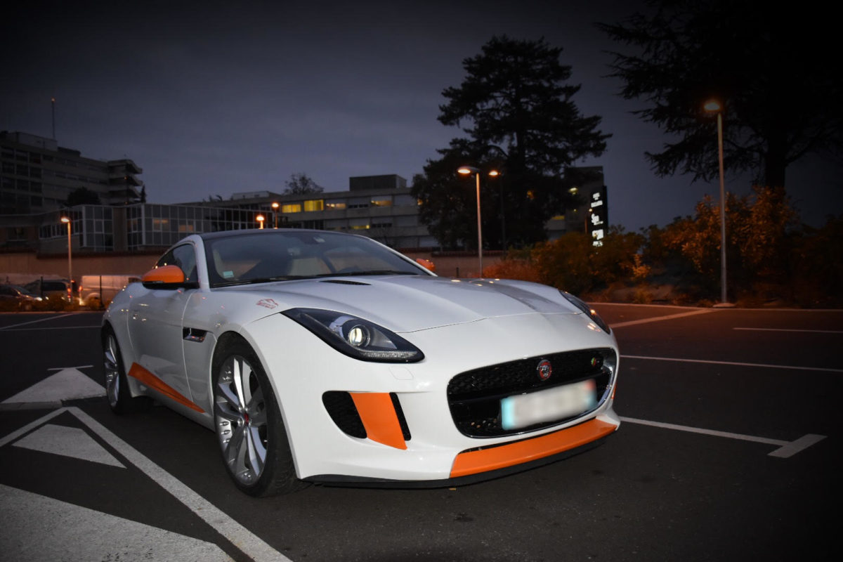 Jaguar F-Type S Covering sur mesure Orange / Noir / Blanc